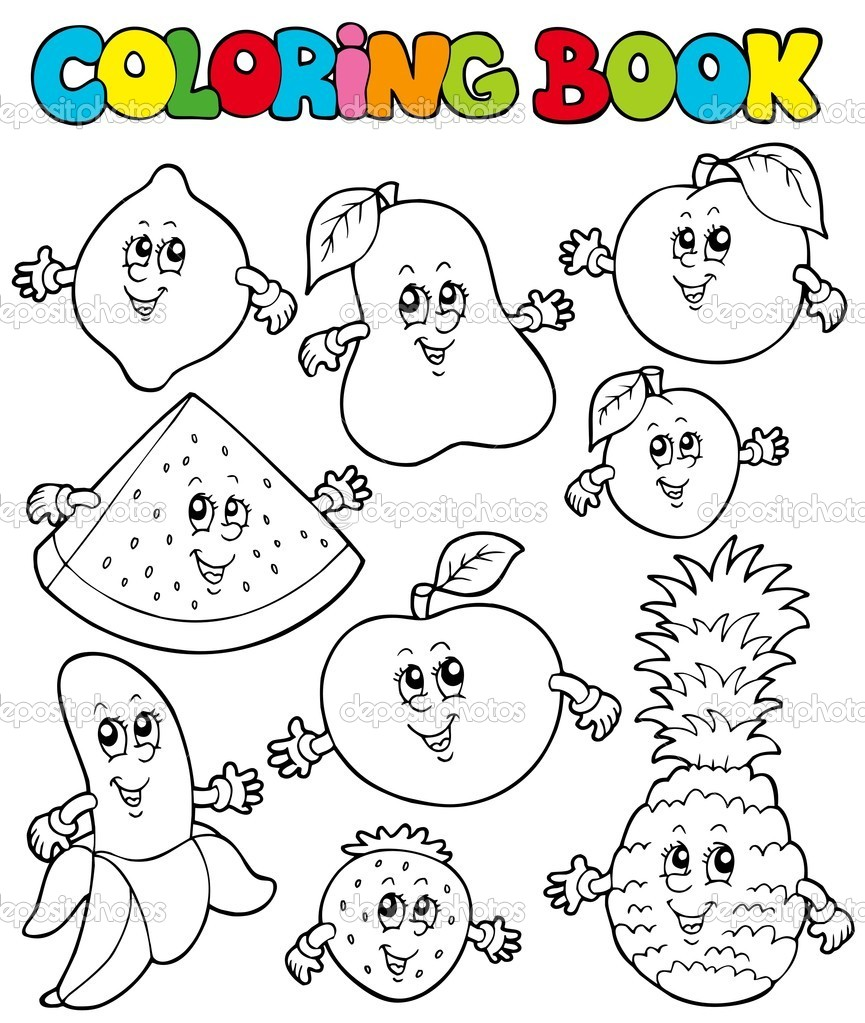 Coloring book landforms - Coloring Book With Cartoon Fruits 1 Stock Vector