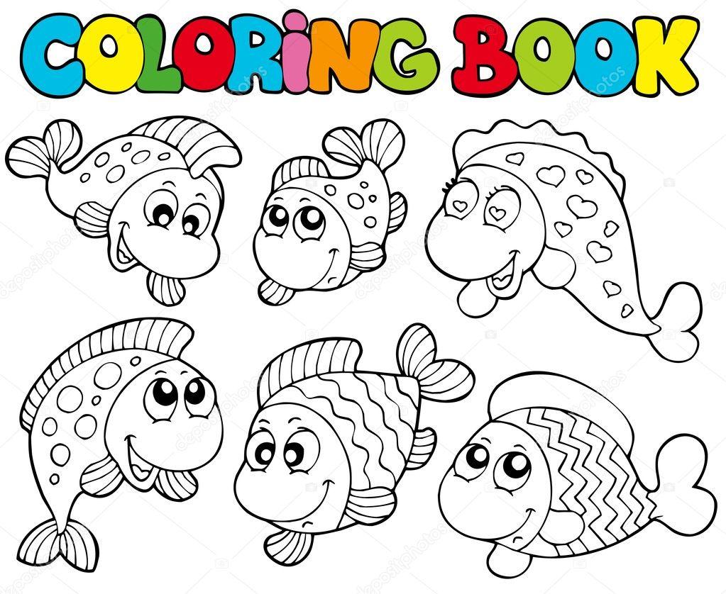 Книжка-раскраска с ума рыб — Векторное изображение ...