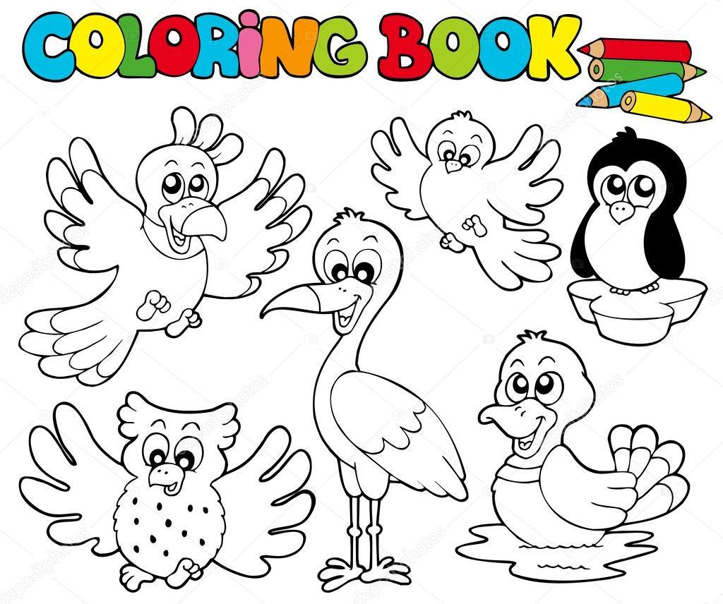 libro para colorear con los pájaros lindos 1 — Vector de stock ...