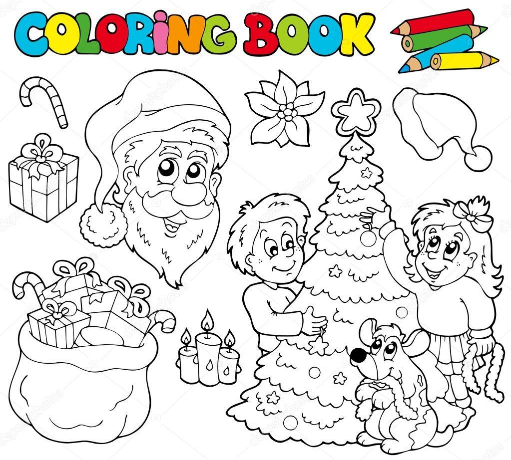 libro con tema de Navidad para colorear — Vector de stock © clairev ...