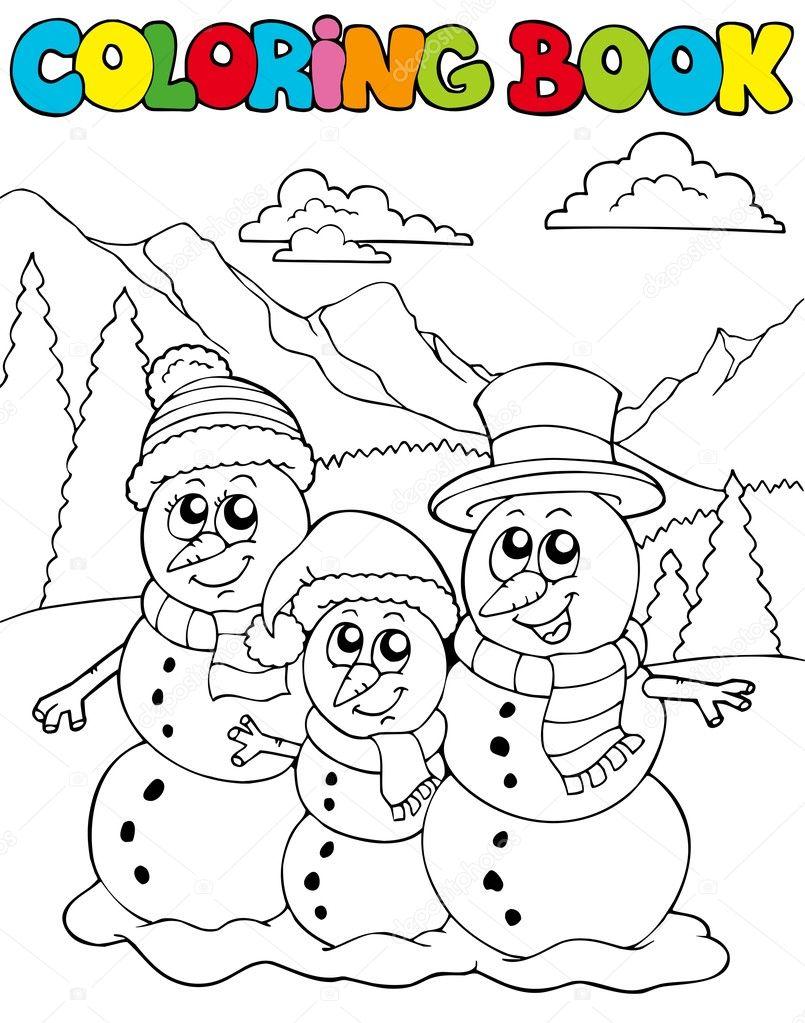Kardan Adam Aile Boyama Kitabı Stok Vektör Clairev 4137619