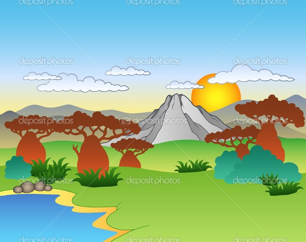 Dessin anim paysage africain image vectorielle clairev - Dessin paysage africain ...