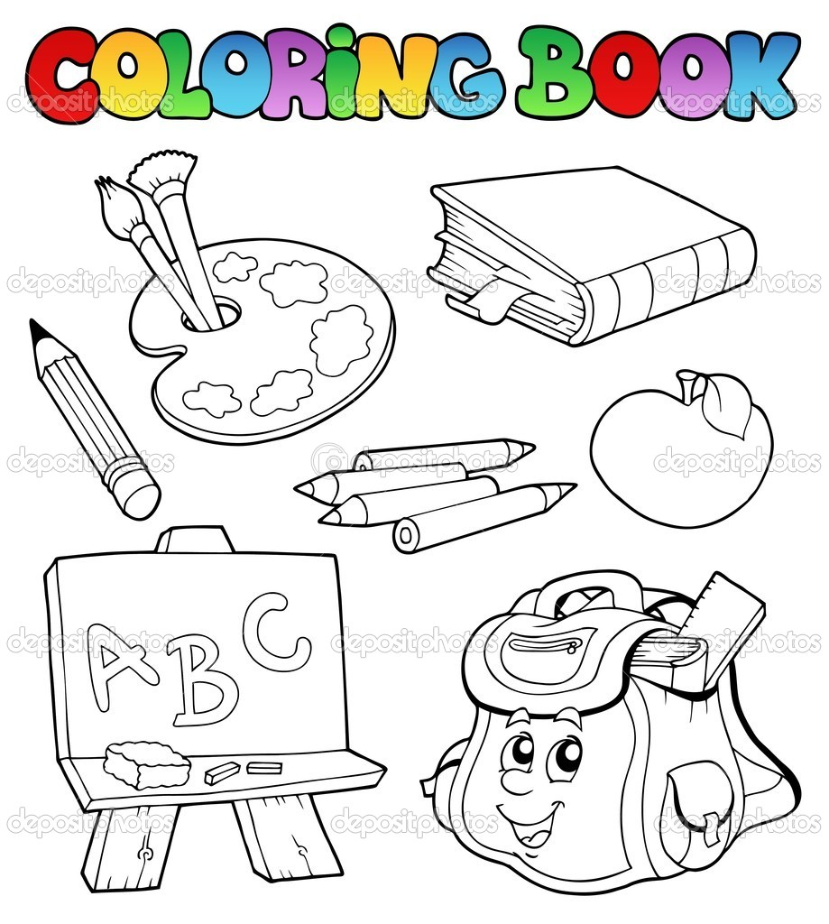 Coloring book school - Coloring Book With School Images 1 Vector Illustration Vector By Clairev