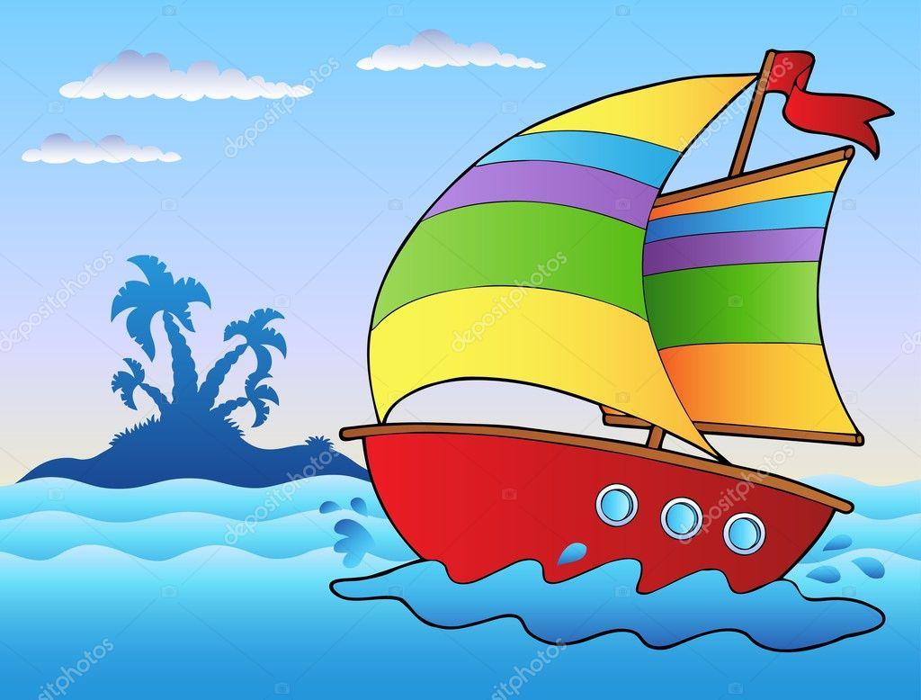 Barca a vela cartone animato vicino isolotto — vettoriali