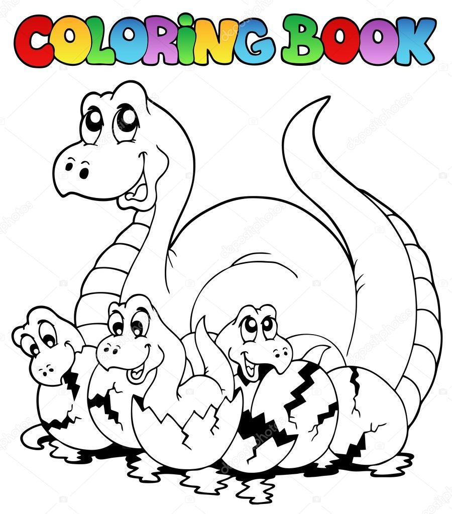 Genç Dinozorlar Ile Boyama Kitabı Stok Vektör Clairev 4525414
