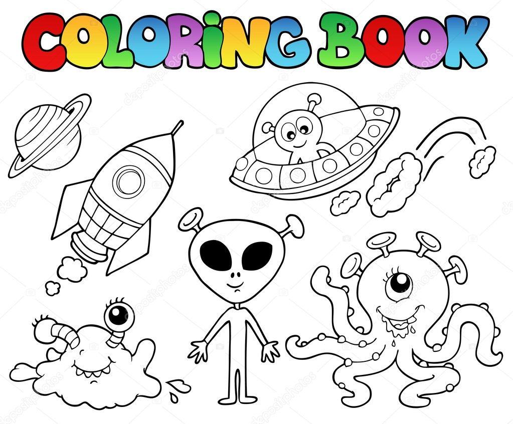 Libro Da Colorare Con Gli Alieni Vettoriali Stock Clairev 4587711