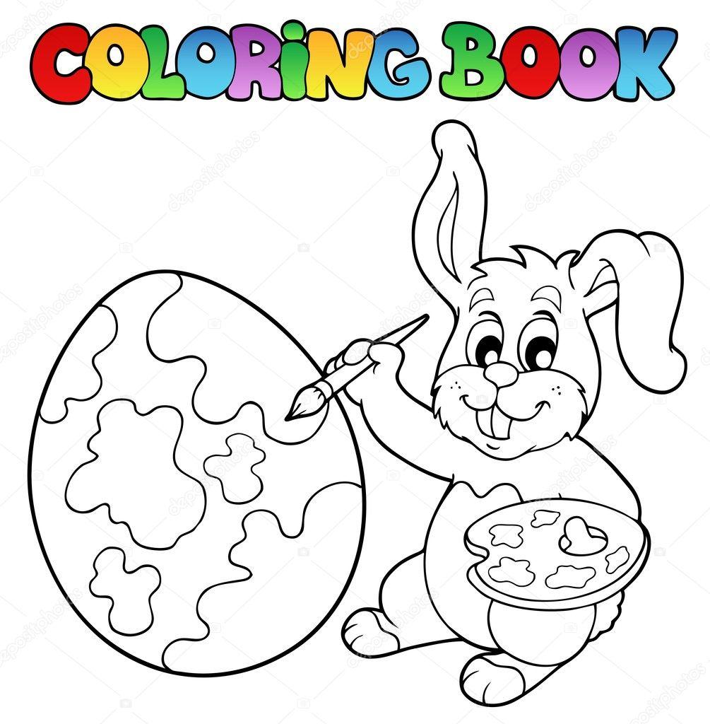 libro de colorear con el artista de conejo — Vector de stock ...