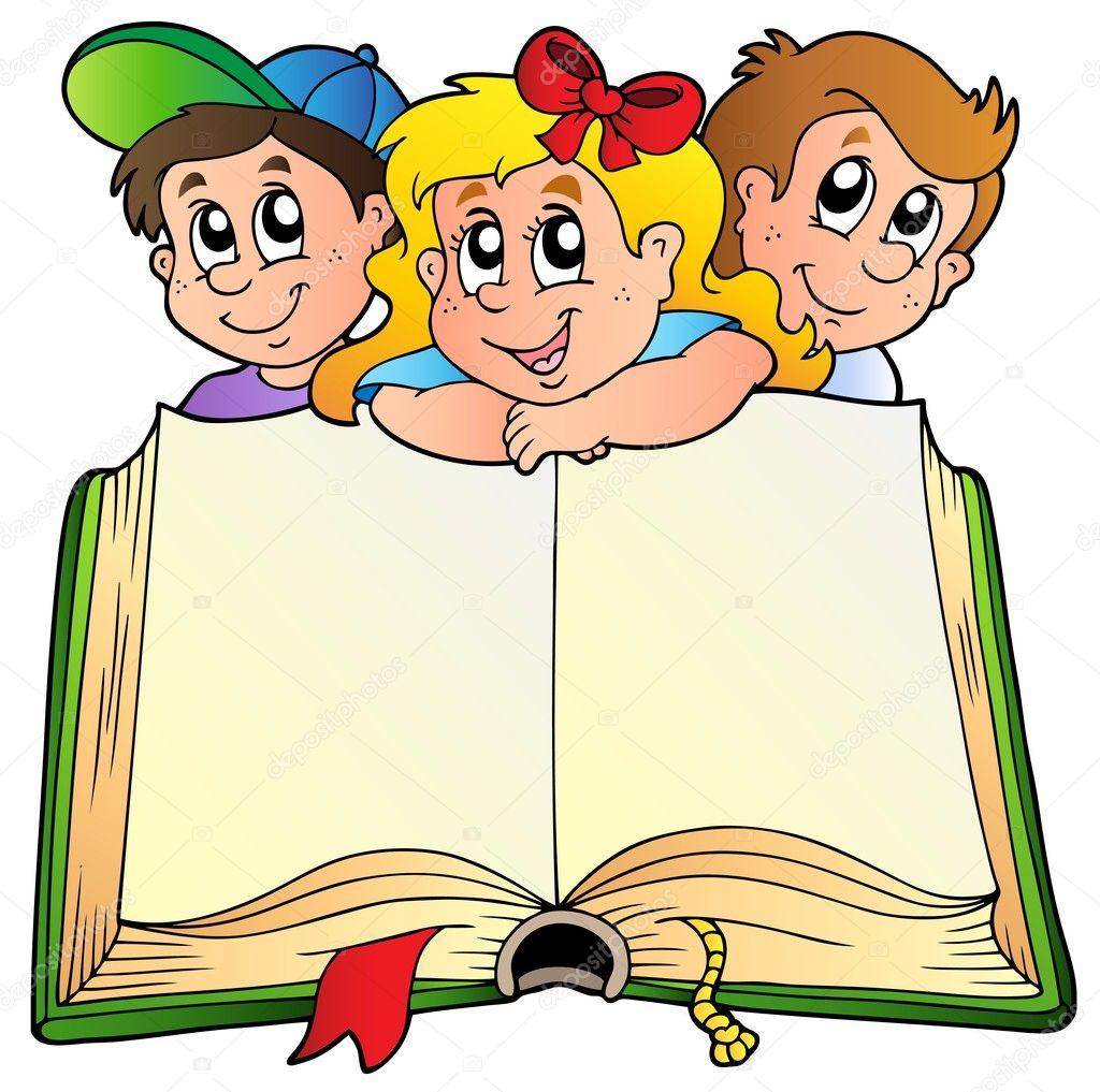 Animado Libro Abierto Tres Niños Con Libro Abierto Vector De