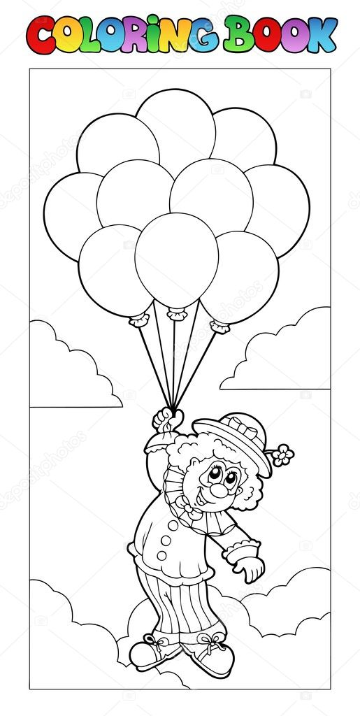 Coloring Book With Flying Clown Stock Vector C Clairev 5293854