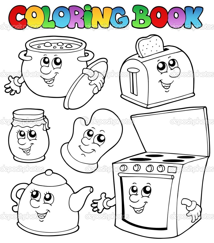 Coloring Book With Kitchen Cartoons Stock Vector C Clairev 5293873