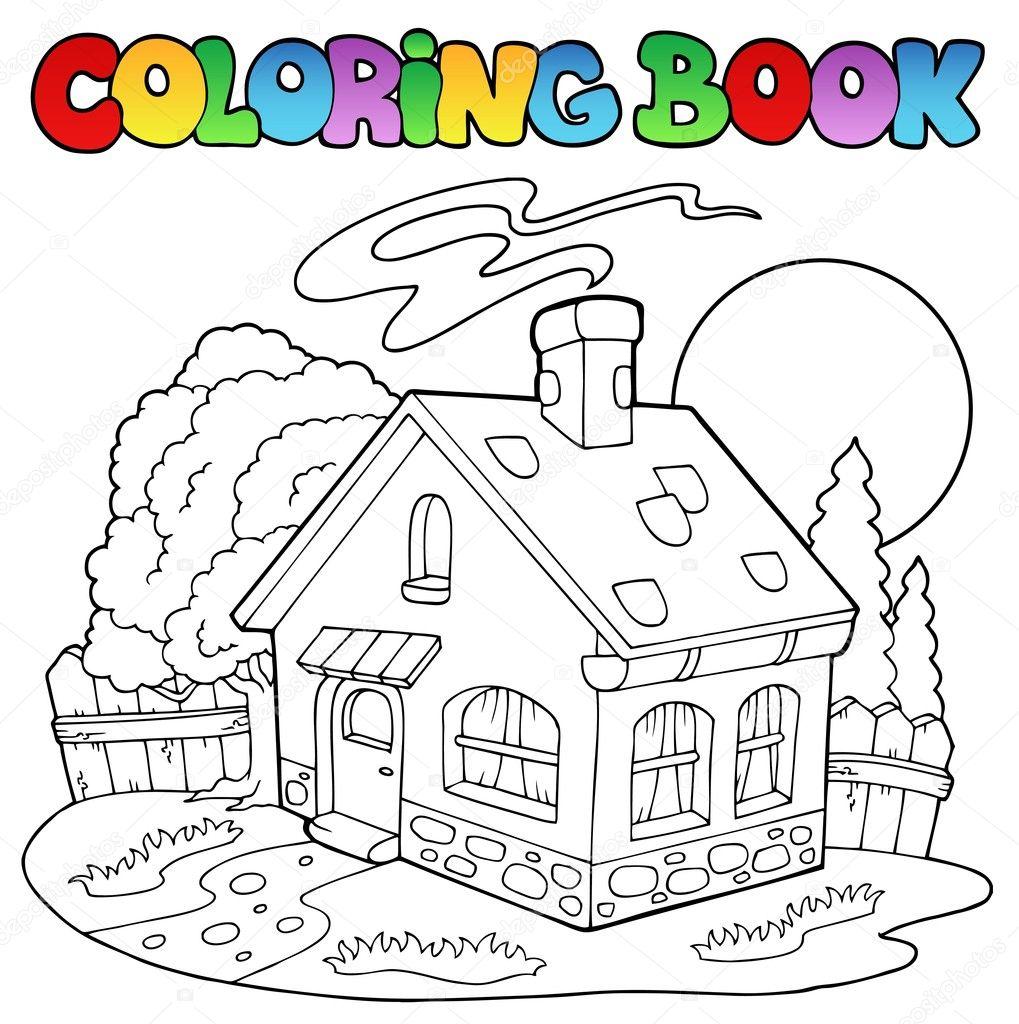 Книжка-раскраска с домиком — Векторное изображение ...