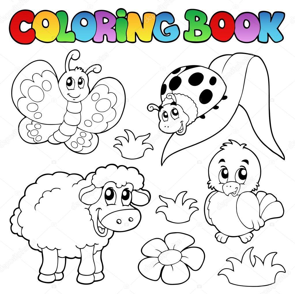 Vector: animales de primavera | libro para colorear con animales