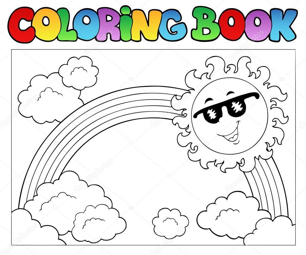 Illustrazione Disegno Arcobaleno Con Sole Libro Da Colorare Con