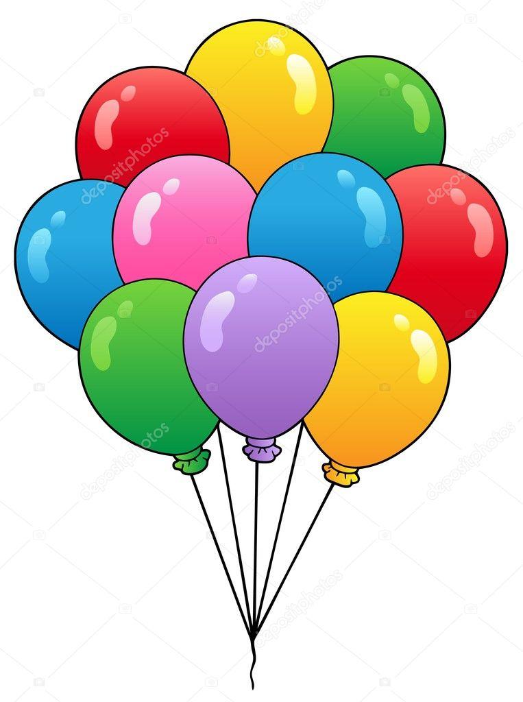 Skupina kreslené balónky 1 — stock ilustrace