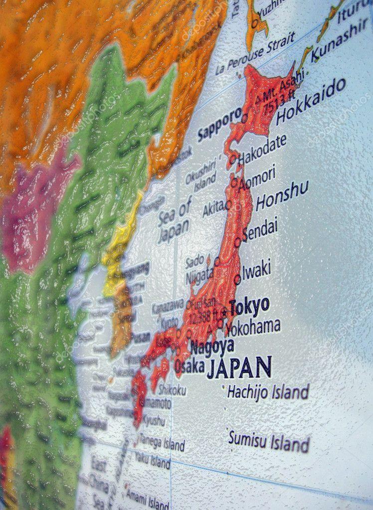 Japan map tokyo sendai details travel Stock Photo fmua09