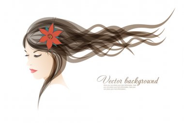 Vector background. The girl with colors in hair