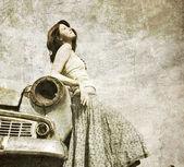 Photo Girl near retro car.