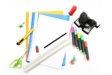 Office stationery over white background stock vector