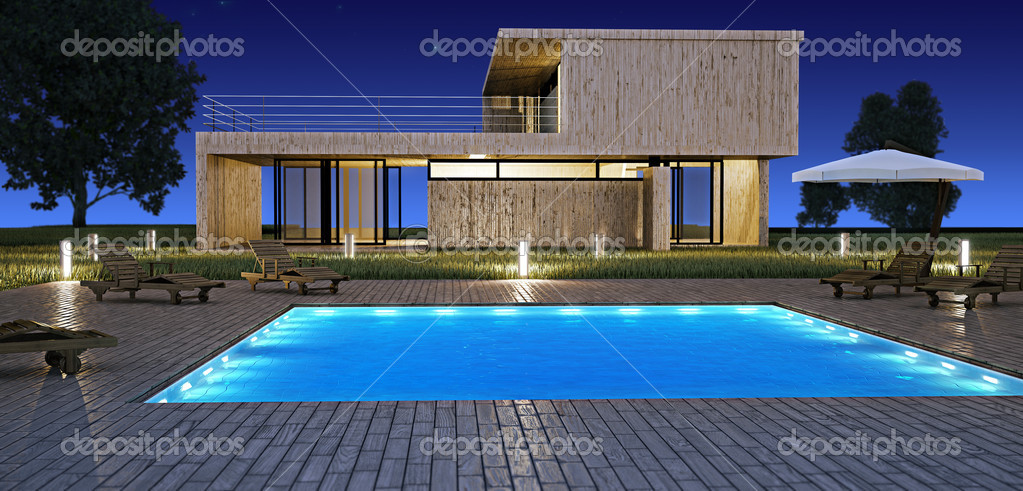 Modern house with pool  Stock Photo #4039081