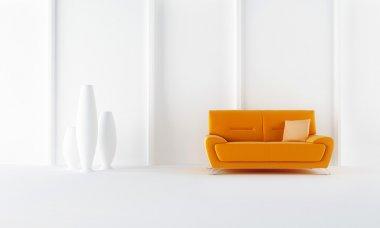 Orange modern style sofa