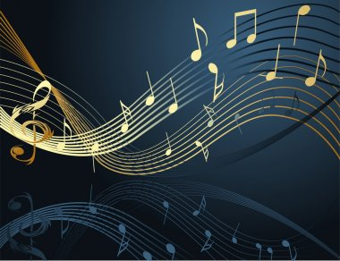 Music notes on blue