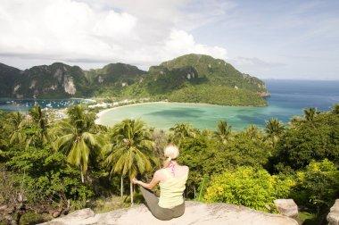 Beautiful girl is looking on Phi Phi island