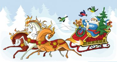 Santa Claus and the horses