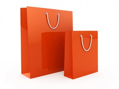 Red Shopping bags isolated on white