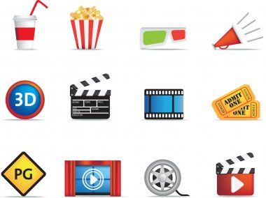 Collection of icons based on cinema, film and movies stock vector