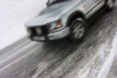 Car skidding on an icy road
