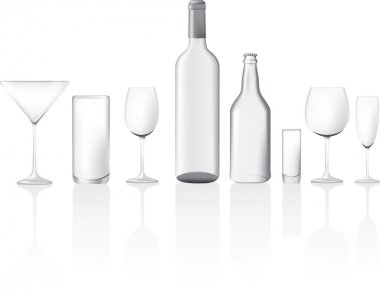 Illustration set of clear glass empty bottles and glasses