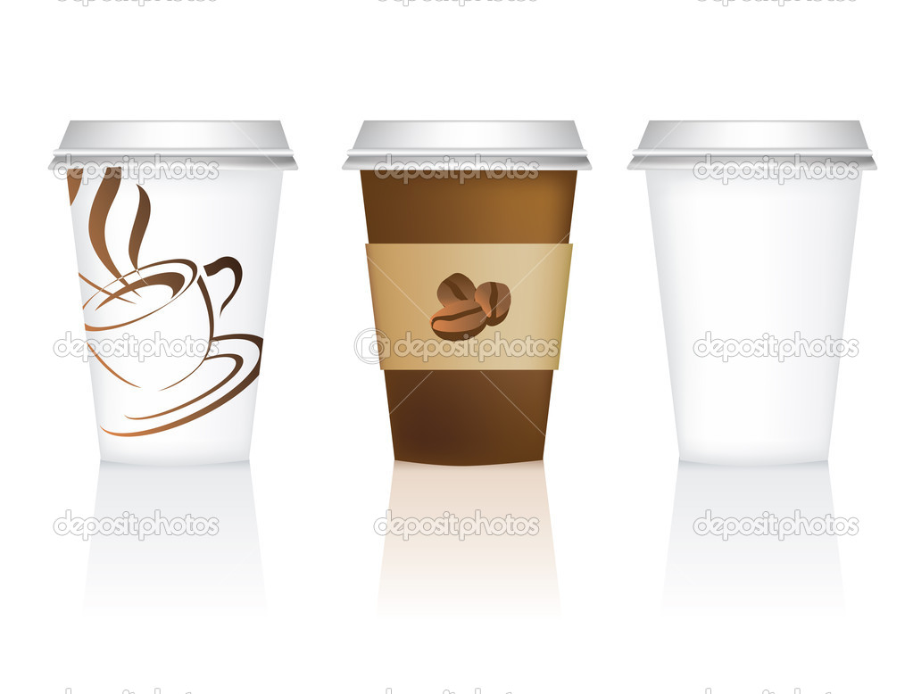 Coffee cup vector free - Plain And 2 Designs For Takeaway Coffee Cups Vector By Joingate