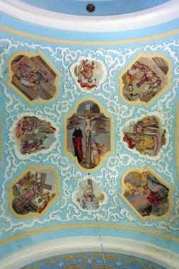 "Картина, постер, плакат, фотообои ""потолок церкви, изображающие жизнь Иисуса"", артикул 4996711"