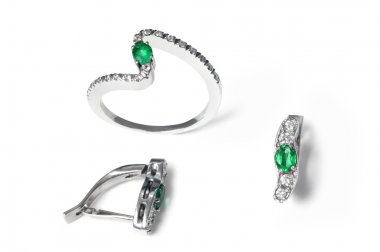 Emerald and diamond earrings and ring
