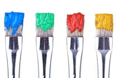 4 Paint Brushes, completey isolated on white