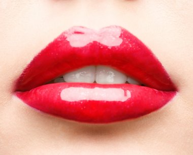 Red lips closeup