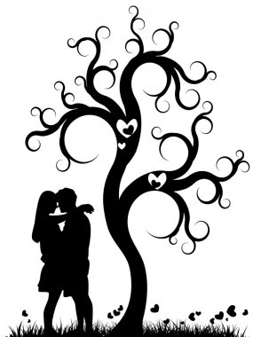Silhouette of a couple kissing under a tree stock vector