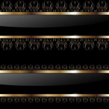 Abstract background gold banners on black, vector illustration. stock vector