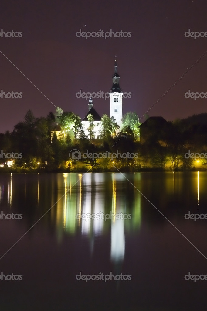 Фотообои Night panorama of Bled Lake in Slovenia