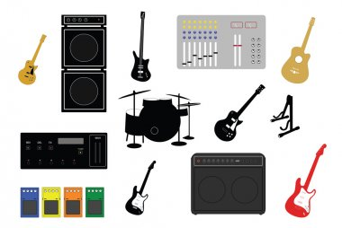 Musical instruments and electronic studio equipment illustrations clip art vector