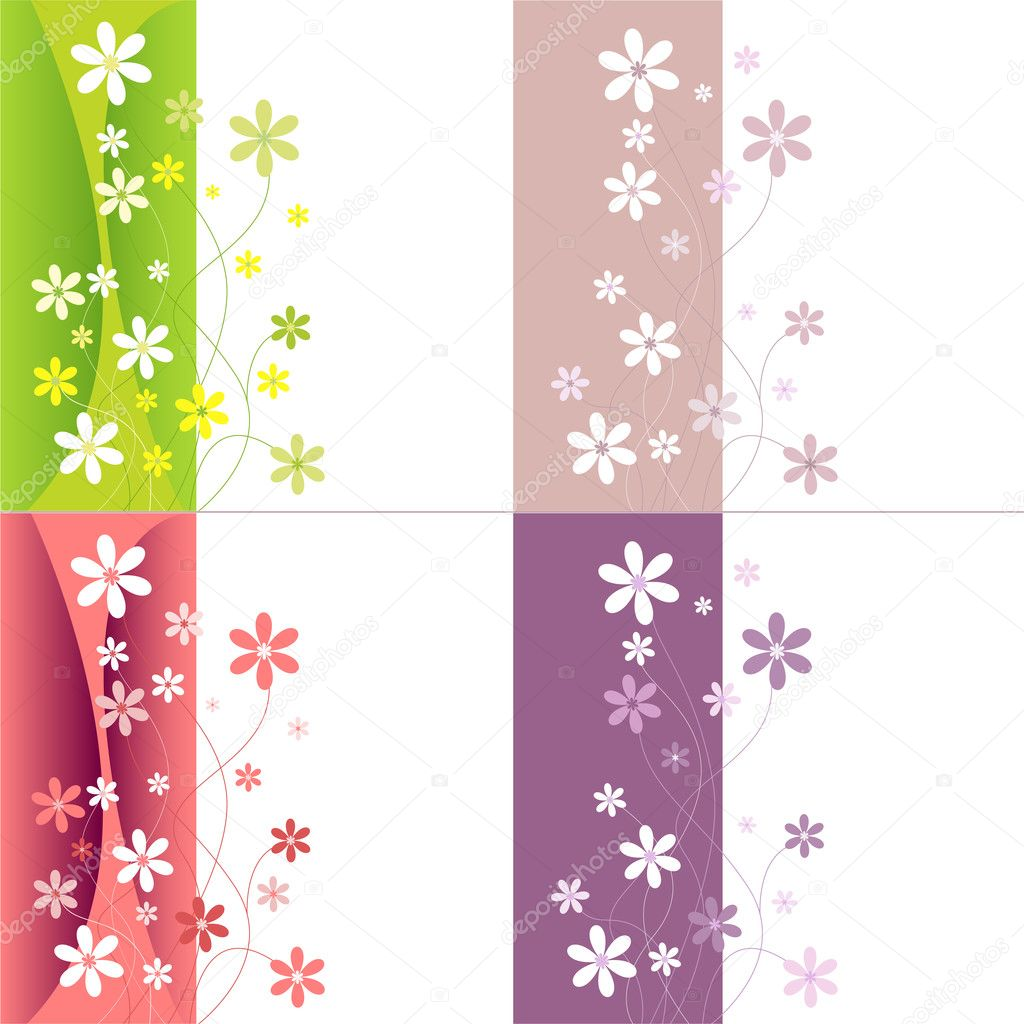 Vector colorful flower set