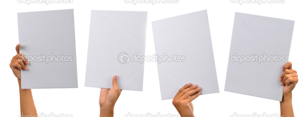 Various blank cardboard with hands isolated on white stock vector