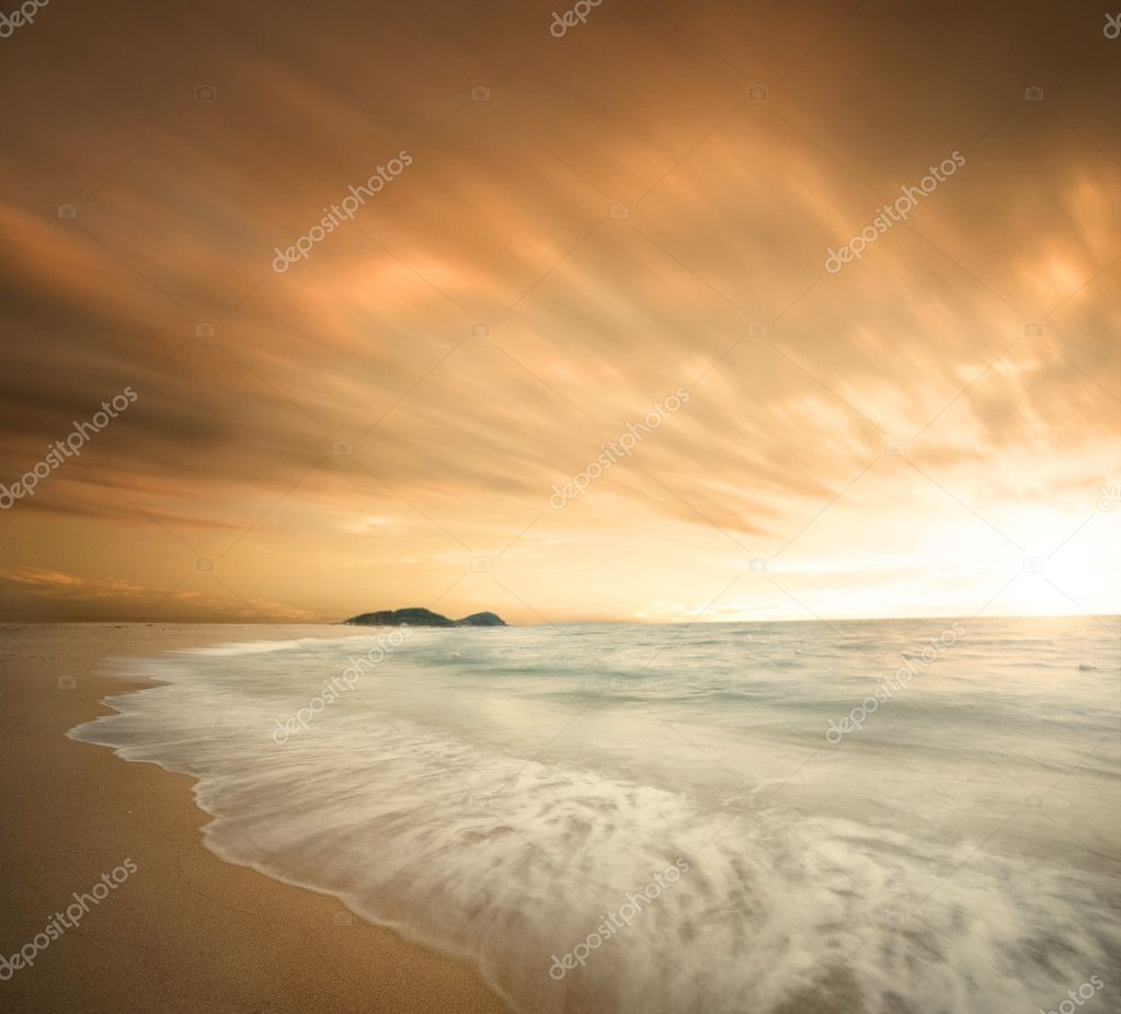 Beautiful beach during sunset