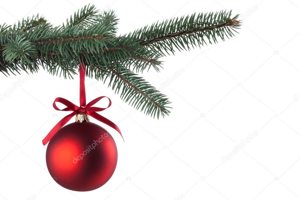 Christmas ball with curly ribbon on christmas tree