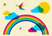 Fotografie Colorful humming birds and rainbow