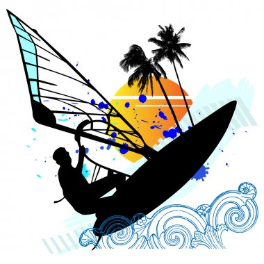 Windsurfing - vector set