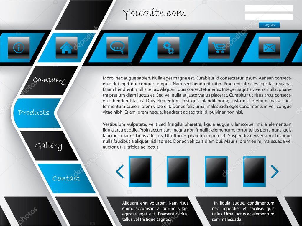 horizontal and arrow shaped button bar website template stock