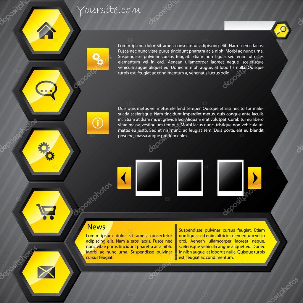 Hexa yellow web template