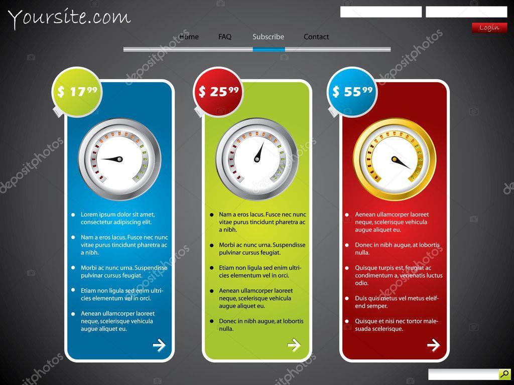 Abonnement Web Template Design mit Preis — Stockvektor © vipervxw ...