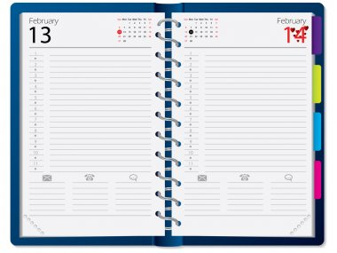 Notebook design with calendar
